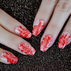 False nails UV Gel Halloween Coffin Blood Splash 24pk + nail tabs by EchiQ