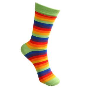 RAINBOW BAMBOO SOCKS fair trade multi coloured stripes men's one size 7 to 11
