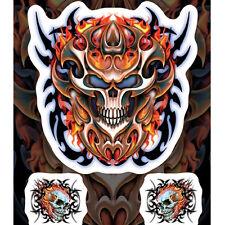Biker Tribal Mask Flammen Skull Totenkopf Aufkleber Sticker Decal 3 Stück