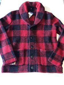 Polo Ralph Lauren Boy's 7 8 10 12 14 16 Cardigan Sweater Wool Black Red Button