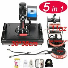 "11.5""X 15"" 5 In 1 Combo Heat Press Printer Sublimation Machine T-shirts Mug Cap"