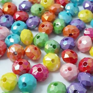 50pcs Mixed Colour AB Acrylic Rondelle Beads, 10mm - B19774