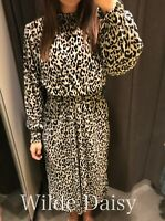 ZARA NEW ANIMAL PRINT MIDI DRESS LEOPARD ELASTIC WAIST HIGH NECK SIZE S/M/L