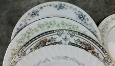 8 Vtg White Lavender Pink Blue Floral Mismatched China Dinner Plates Wedding DPv