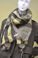 BURBERRY Womens Mens 100% Linen Black Green Yellow Giant Crinkled Check Scarf