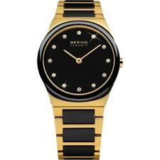 Bering Ladies Black Ceramic & Gold Watch 32230-741