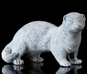 Ferret Marble, Statue, Russian Handmade Collectible Statuette, Animal Figurine
