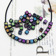 200PCS 6mm Assorted Acrylic 26 Alphabet Letter Cube Beads Jewelry DIY Findings