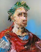 Abstract Portrait Julius Caesar Rome Ancient Painting Knife Fine Wall Art Print