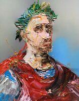 Abstract Portrait Julius Caesar Rome Ancient Painting Knife Fine Wall Art Print