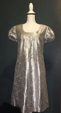 Ali Ro Metallic Silver Jacquard Short Sleeve Dress Silk Size 12 Party Wedding