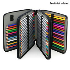 Deluxe PU Leather Pencil Case For Colored Pencils - 120 Slot Pencil Holder Black