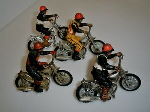 4X Vintage BRITAINS SPEEDWAY Racers & MOTORCYCLES BIKES + RIDERS SCALE 1:32