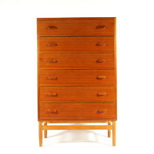 Retro Vintage Danish Poul Volther FDB Teak Tall Boy Chest of Drawers Dresser 60s