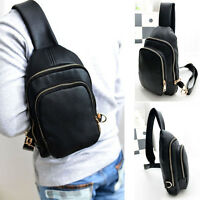 Men's Leather Crossbody Shoulder Chest Cycle Sling Bags Satchel Backpack Day Bag