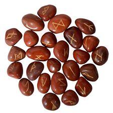 Red Jasper Stone Rune Set Natural Gemstone Alphabet Reiki Healing Crystal