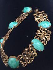 "ART Deco CECA anni 1920 Neiger BROS PECHINO vetro gold tone bracelet 7.5"""