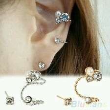 #1151  1 Pc Lady's Elegant Pearl Rhinestone Gold Plated  Ear Clip Earrings