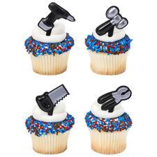 Tools Metallic Silver Handyman cupcake picks (24) favor cake topper 2 dozen