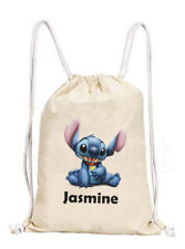 Personalised Lilo and Stitch 'Stitch' Bag - Cotton Canvas Drawstring Gym PE Bag