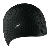 Speedo Silicone Textured Bubble Swimming Swim Cap, Black, UV Protection Flexible