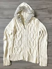 NWOT OLD NAVY FAUX FUR TRIM HOODED CABLE ZIP FRONT SWEATER TOP M MEDIUM   SFS