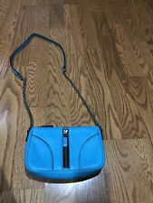 Milly NY Bright Blue Small Crossbody Leather Handbag EUC