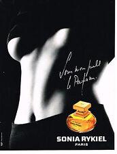 """PUBLICITE ADVERTISING 034   1993   SONIA RYKIEL  parfum """" SOUS MON PULL"""""""