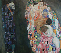 Oil painting Gustav Klimt - Death and Life Humans and demons on canvas