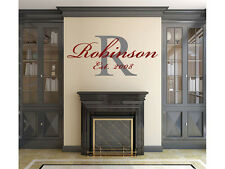 """Family Monogram Last Name Established Overlay Wall Vinyl Decal Graphic 22"""" Tall"""