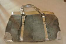 Emporio Armani Siver Tote Handbag With Goat Fur. Made in Italy.