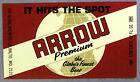 Globe Brewing Co ARROW PREMIUM  dark maroon beer label Balto MD 12oz