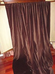 CUSTOM DARK SMOOTH CHOCOLATE BROWN VELVET (PAIR) LONG LINED PANELS 50 X 94