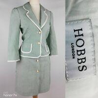 Hobbs Green Striped Button Down Smart Skirt Blazer Suit Formal Size 12 14 M