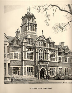 Vintage Print: CARDIFF ROYAL INFIRMARY: Pencil Drawing after GRAHAM CLILVERD.