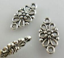 30pcs Tibetan Silver 2-hole Flower Connectors Bail Charms Pendants 8x16mm