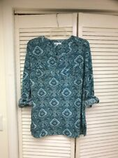 Notations, LS 6 Button Paisley Printed Tunic Top, Sz Lg, EUC!