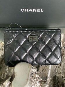 CHANEL So Black Mini O-Case Calfskin Reissue 2.55 CC Zip Cosmetics Pouch NEW NWT
