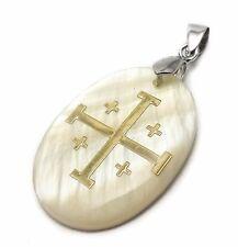"Jerusalem Mother Of Pearl Cross Pendant Catholic Crucifix Women Men Charm 1.2"""