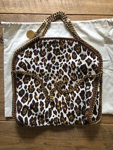 Stella McCartney Falabella Fold Over Leopard Print Canvas Bag 100% Genuine