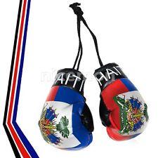"Haiti Haitan Flag Mini Boxing Gloves Car Rearview Ornament Caribbean Culture 4"""