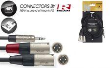 Audiokabel 2m - 3,5er Klinke auf 2 x XLR male - Anschlußkabel für Laptop ,Handy
