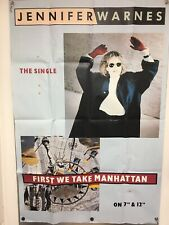 "Huge Vintage Jennifer Warnes Poster: ""First We Take Manhattan"" 1987"