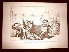 Litografia Morte di Re Tarquinio il vecchio L'Istoria Romana Bartolomeo Pinelli