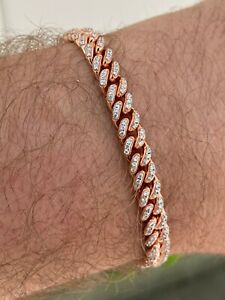 14k Rose Gold Over 925 Sterling Silver 6mm Iced Miami Cuban Bracelet Men Ladies