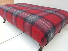 Large Handmade Footstool 100% Wool Tartan Fabric. Choice of legs, fabric & size!