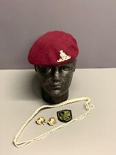 Royal Artillery Para Beret, Collar Badges, Brigade Patch & Lanyard. Size 56cm.