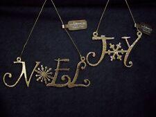 GOLD JOY & NOEL ORNAMENTS (Set of 2) Metal by Roman Inc - NEW W/TAG