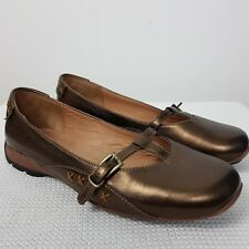 Rohde Shoes Flat Comfort Size UK 3.5 G/ 36 Dark Gold Line Slip On Shiny Casual