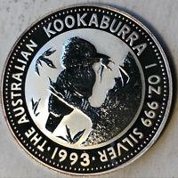 1993 Australian Kookaburra $1 Dollar 1 Ounce .999 Silver Coin